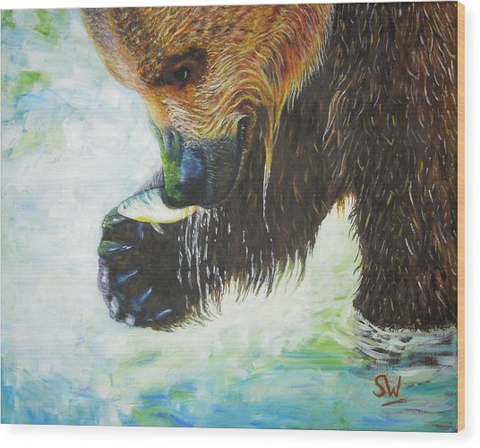 Bear Fishing Wood Print