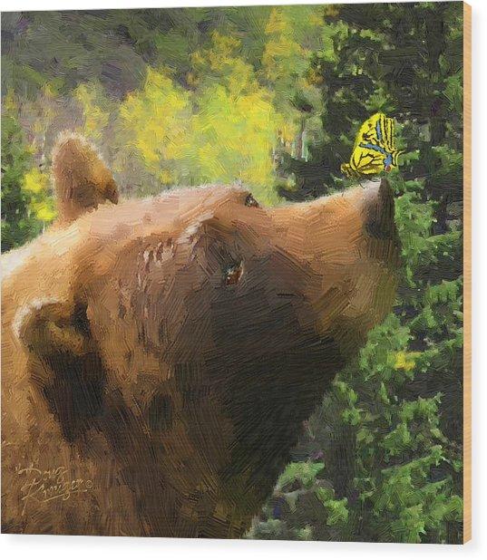 Bear - N - Butterfly Effect Wood Print