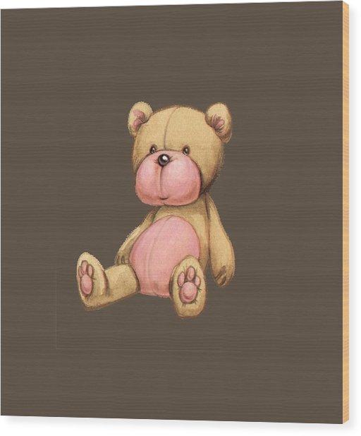 Bear Pink Wood Print