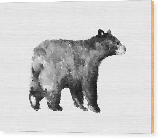 Bear Watercolor Drawing Poster Wood Print