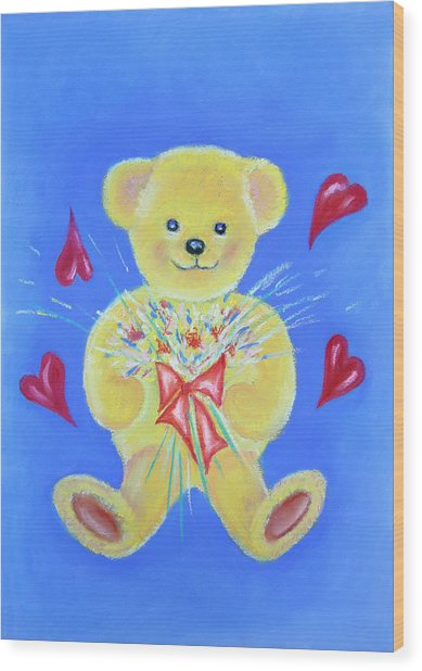Bear With Flowers Wood Print