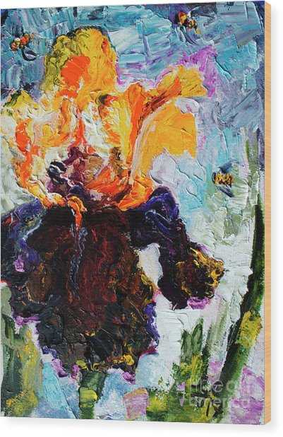 Bearded Iris And Bees Modern Impressionist Oil Painting Wood Print