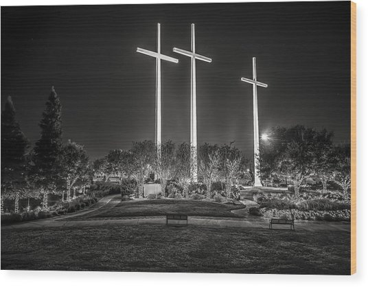 Bearing Witness In Black-and-white 2 Wood Print