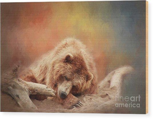 Bearly Asleep Wood Print