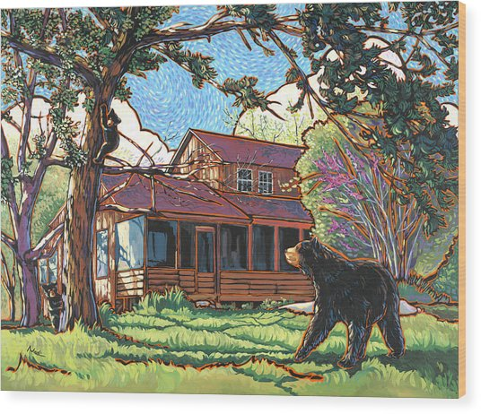 Bears At Barton Cabin Wood Print