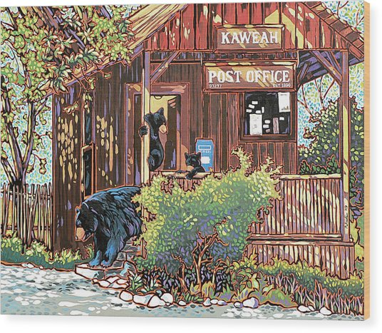 Bears At The Kaweah Post Wood Print