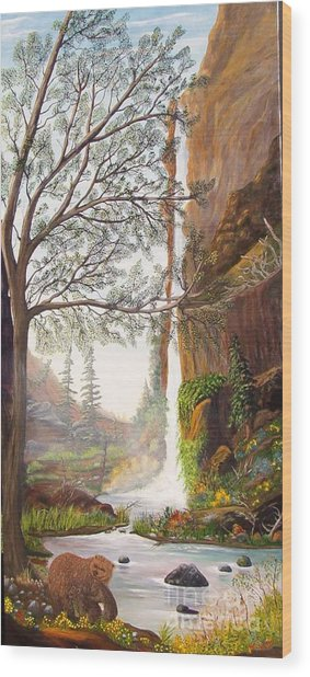 Bears At Waterfall Wood Print