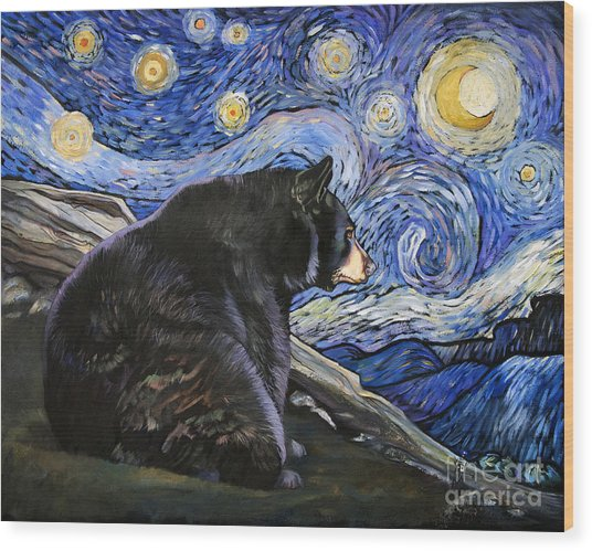 Beary Starry Nights Wood Print