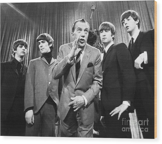 Beatles And Ed Sullivan Wood Print