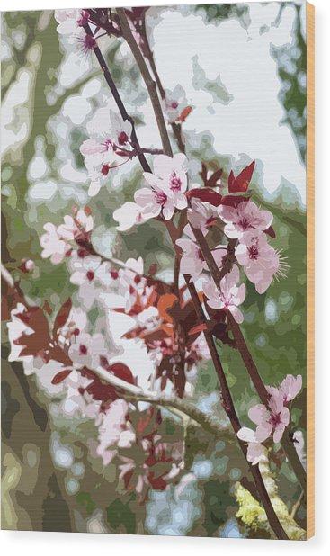 Beautiful Almond Blossoms Wood Print