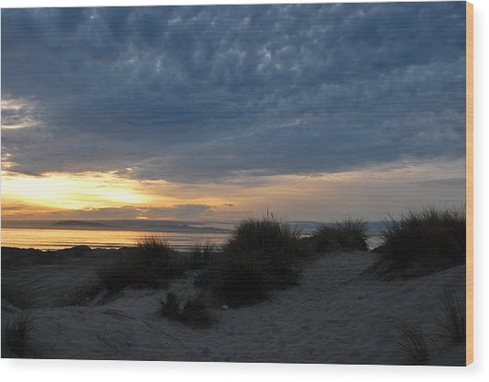 Beautiful Beach San Dunes Sunset And Clouds Wood Print