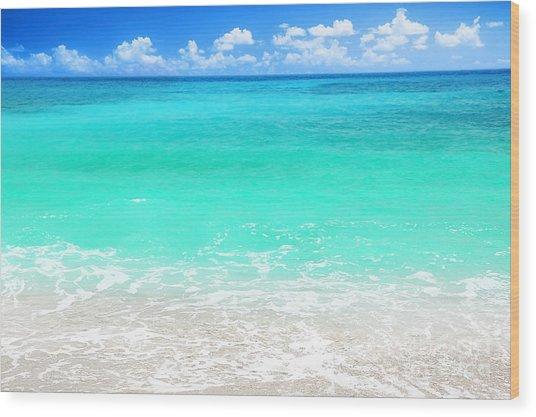 Beautiful Blue Sea Beach Wood Print