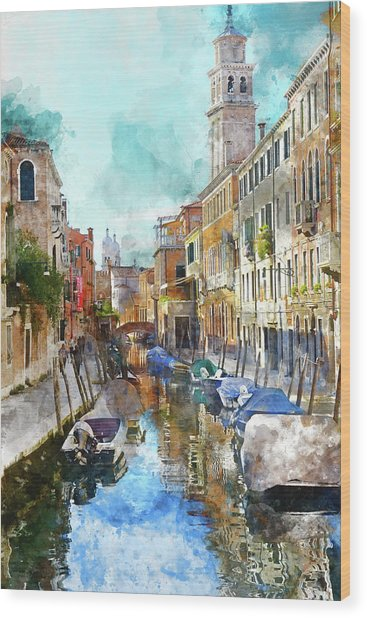Beautiful Boats In Venice, Italy Wood Print