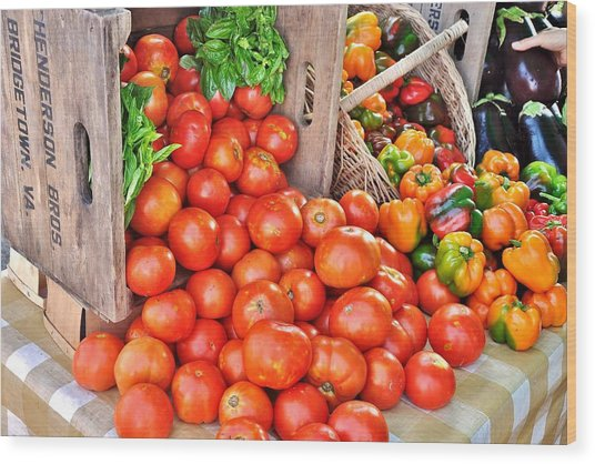 The Bountiful Harvest At The Farmer's Market Wood Print