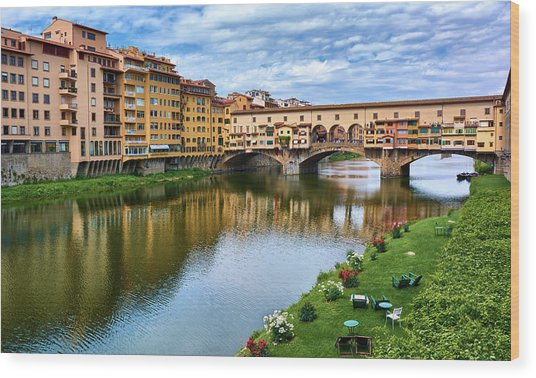 Beautiful Colors Surround Ponte Vecchio Wood Print