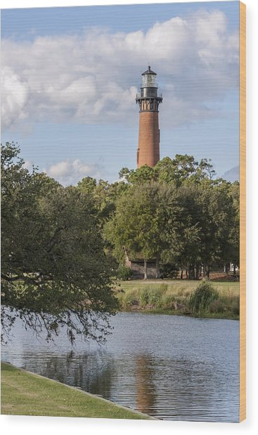 Beautiful Day At Currituck Beach Lighthouse Wood Print