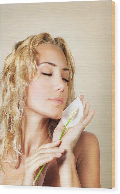 Beautiful Female Holding Calla Flower  Wood Print