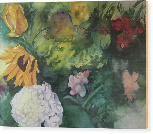 Beautiful Floral Jumble Wood Print