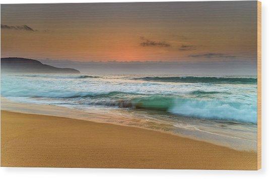 Beautiful Hazy Sunrise Seascape  Wood Print
