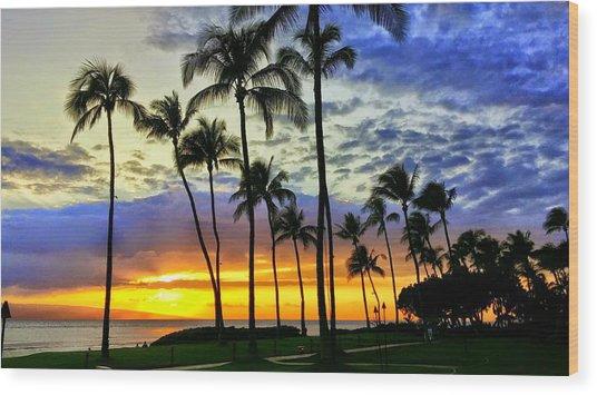 Beautiful Maui Hawaii Sunset Wood Print