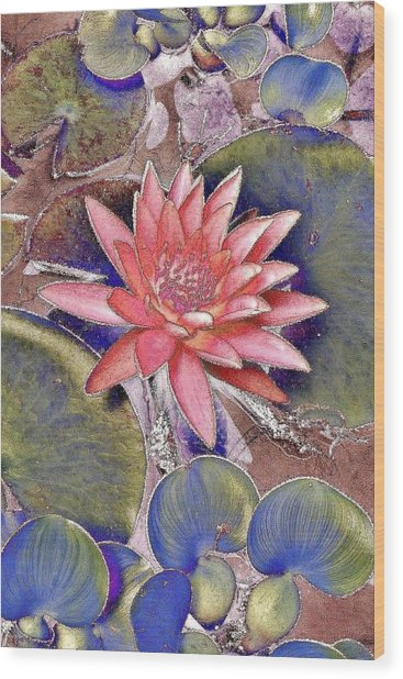 Beautiful Pink Lotus Abstract Wood Print