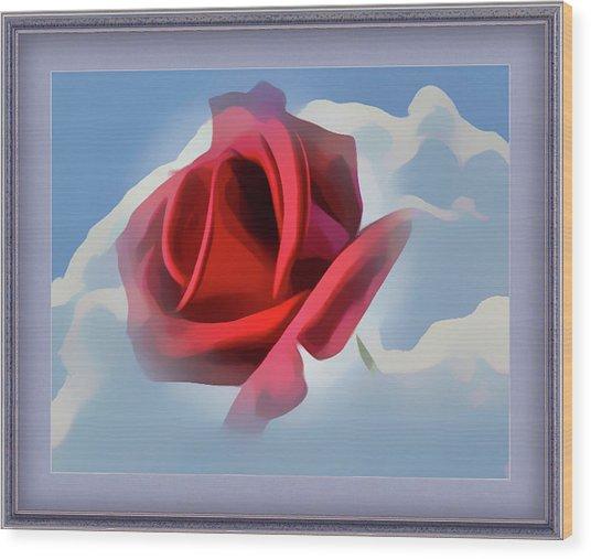 Beautiful Red Rose Cuddled By Cumulus Wood Print