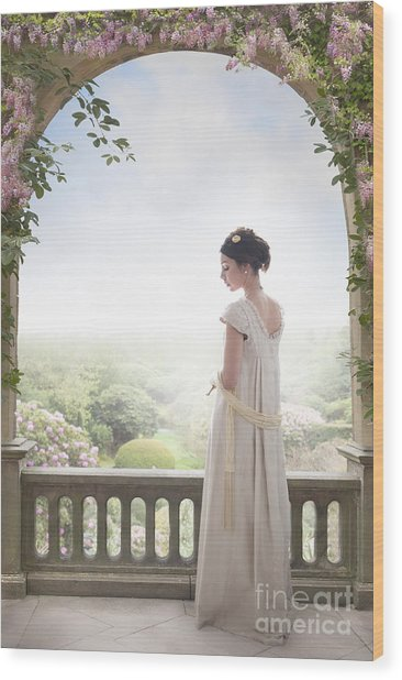 Beautiful Regency Woman Beneath A Wisteria Arch Wood Print