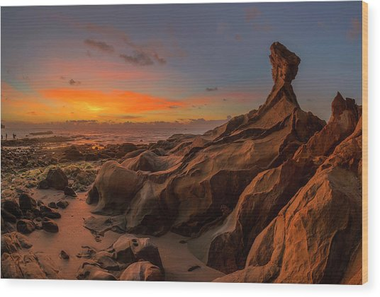 Wood Print featuring the photograph Beautiful Rocky Tindakon Beach Sunset View In Kudat Malaysia by Pradeep Raja PRINTS