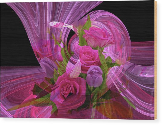 Beautiful Rose Bouquet Montage Wood Print