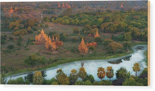 Beautiful Sunrise In Bagan Wood Print