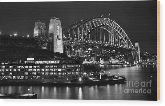 Beautiful Sydney Harbour In Black And White Wood Print