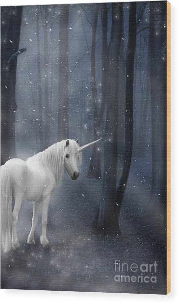 Beautiful Unicorn In Snowy Forest Wood Print
