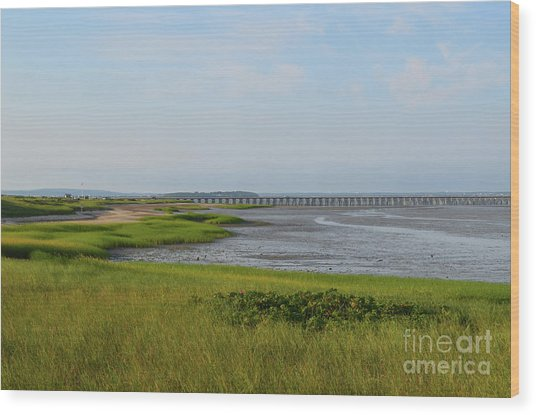 Beautiful Views Of Powder Point Bridge And Duxbury Bay Wood Print