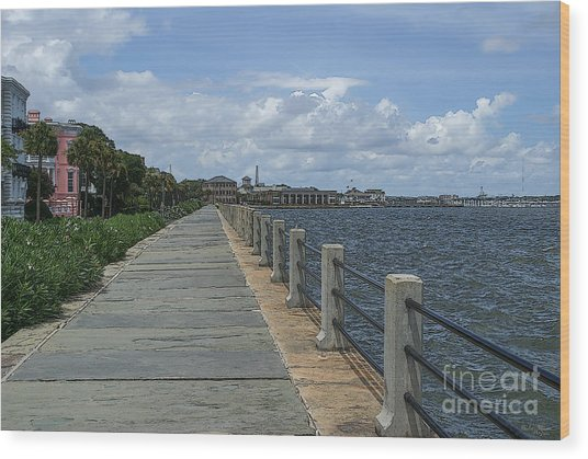 Beautiful Waterfront Walkway Wood Print