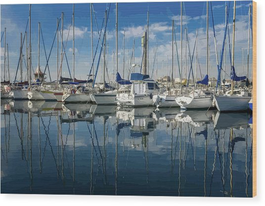 Beautiful Yachts Moored In The Marina Wood Print