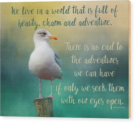 Beauty, Charm And Adventure Wood Print