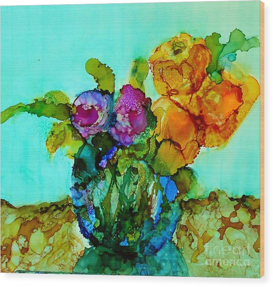 Wood Print featuring the painting Beauty Of Flowers by Priti Lathia