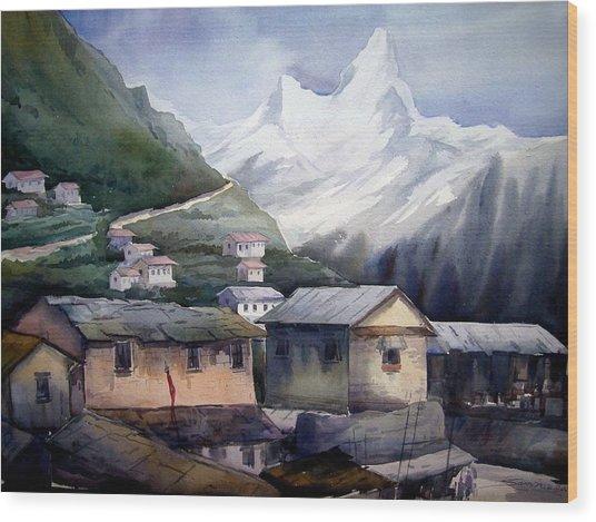 Beauty Of Himalayan Village Wood Print