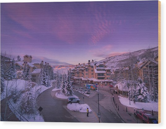Beaver Creek Village Sunset Wood Print