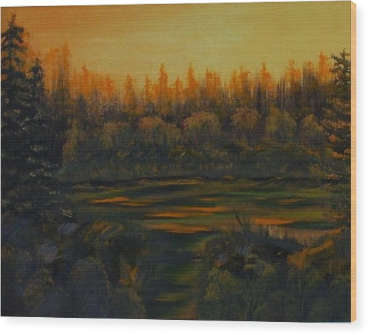 Beaver Pond At Sunset Wood Print by Rebecca  Fitchett