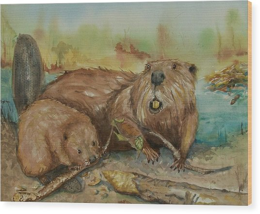 Beavers Wood Print