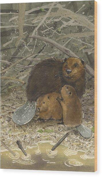 Beavers Wood Print by Denny Bond