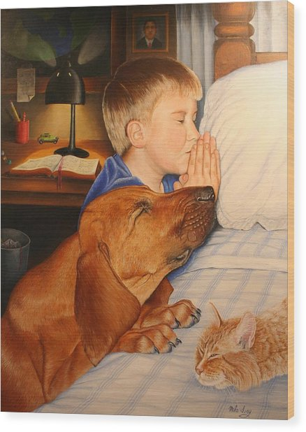 Bed Time Prayers Wood Print