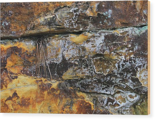 Wood Print featuring the digital art Bedrock by Julian Perry