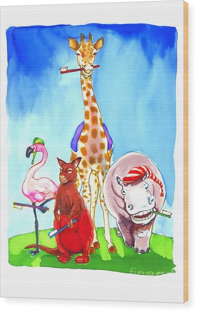 Bedtime Animals Wood Print by Jill Iversen