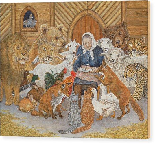 Bedtime Story On The Ark Wood Print