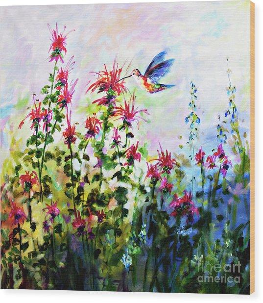 Bee Balm And Hummingbird In Garden Wood Print