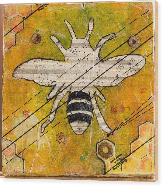 Bee Flat Wood Print