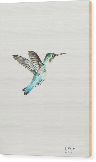 Bee Hummingbird Wood Print