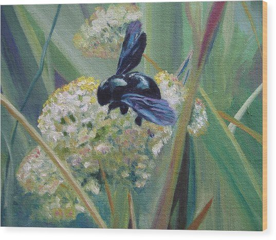 Bee In Provence Wood Print